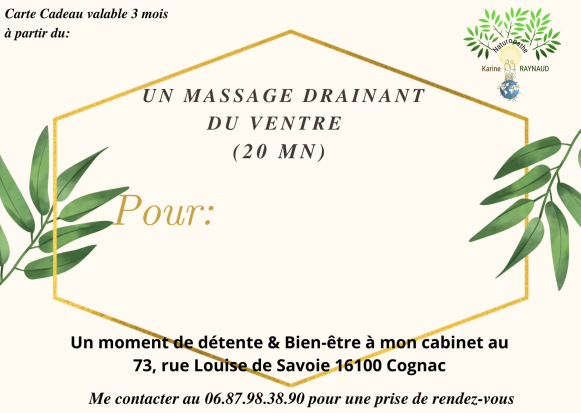 Carte massage drainant du ventre